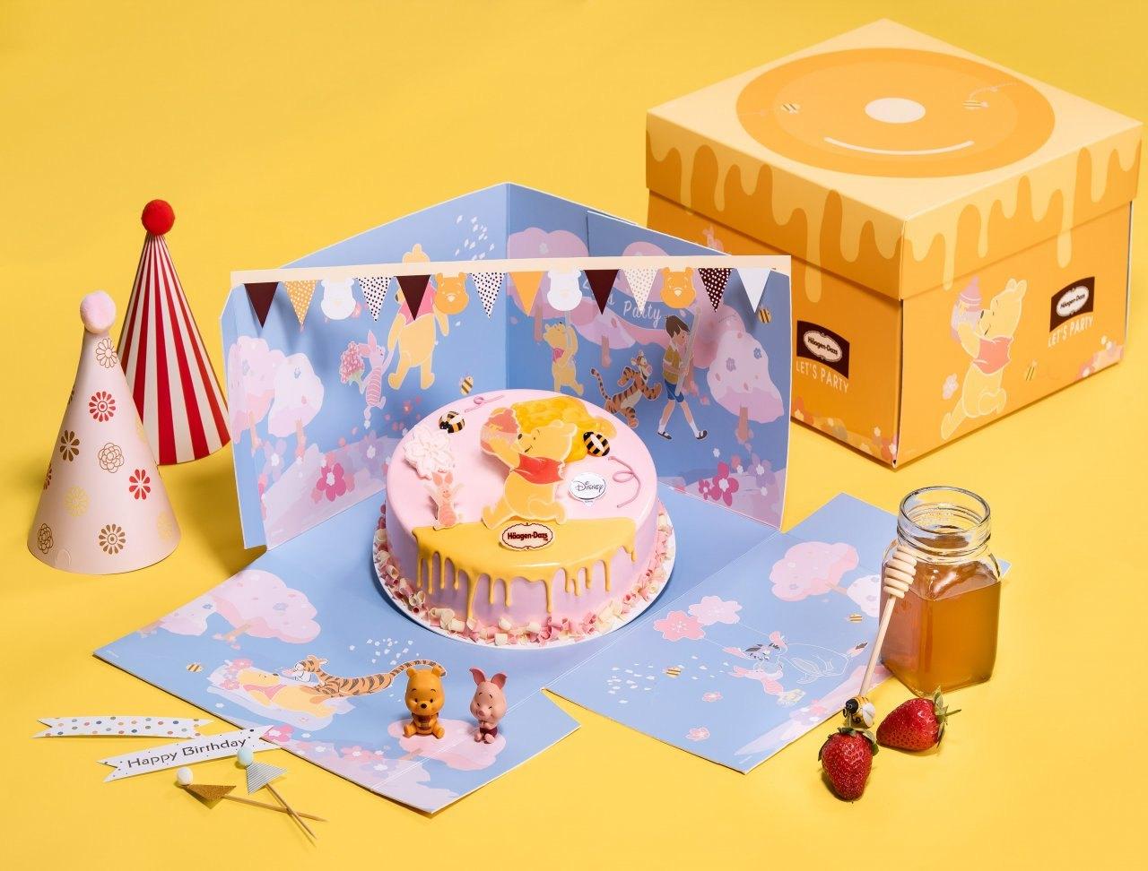 ▲「只想為尼」尋蜜派對組,快樂的跑跳維尼為派對氣氛增溫,清爽的水果口味冰淇淋蛋糕,無論是慶生、或是即將到來的兒童節,都是最可愛的亮點!