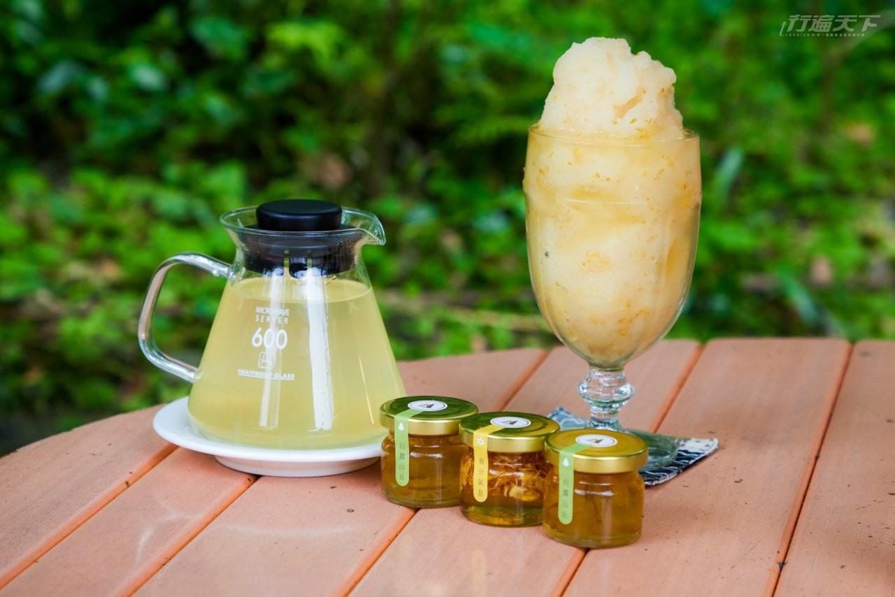 ▲紫森林咖啡廳將柚花入菜,打成冰沙非常順口。