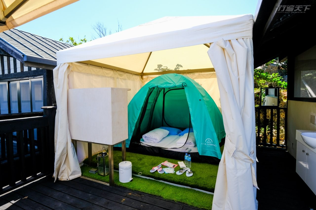 ▲附有冷氣的帳篷再炎熱也不怕。